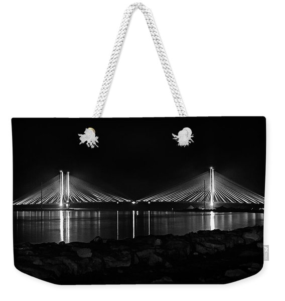 Indian River Bridge After Dark In Black And White Weekender Tote Bag