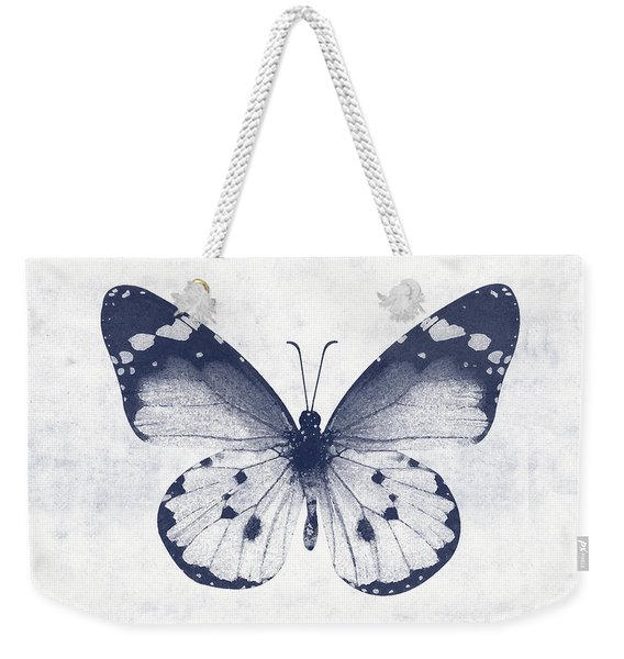 Indigo And White Butterfly 1- Art By Linda Woods Weekender Tote Bag