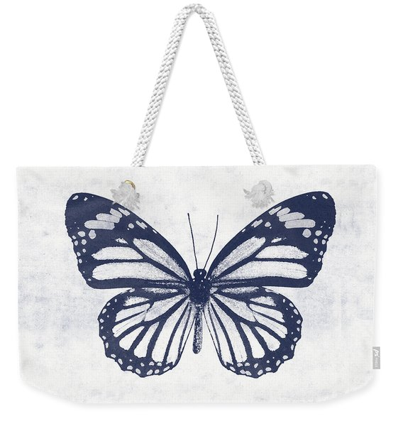 Indigo And White Butterfly 3- Art By Linda Woods Weekender Tote Bag