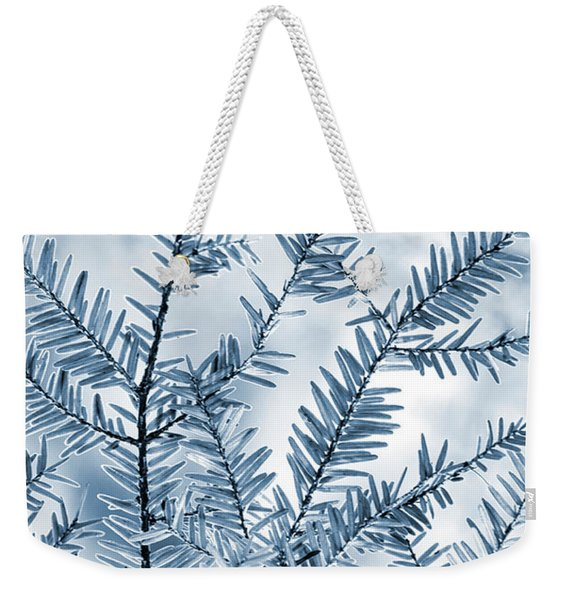 Indigo Blue Evergreen Abstract Art Weekender Tote Bag