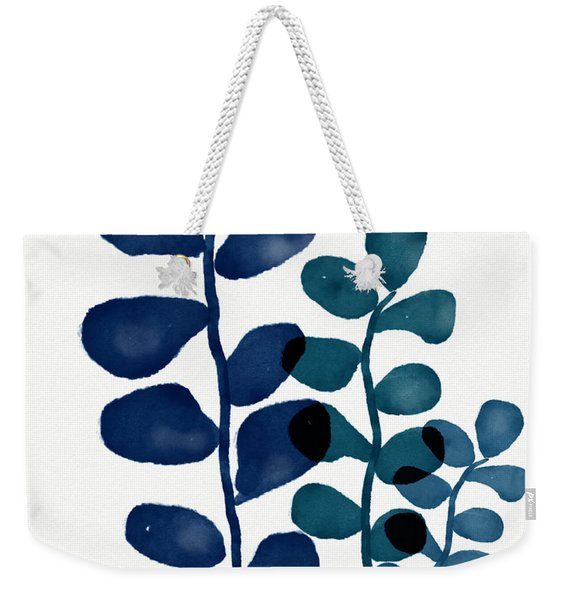 Indigo Eucalyptus 1- Art By Linda Woods Weekender Tote Bag