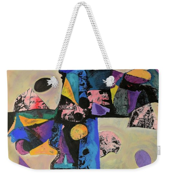 Weekender Tote Bag featuring the mixed media Intense Thrust by Mark Jordan