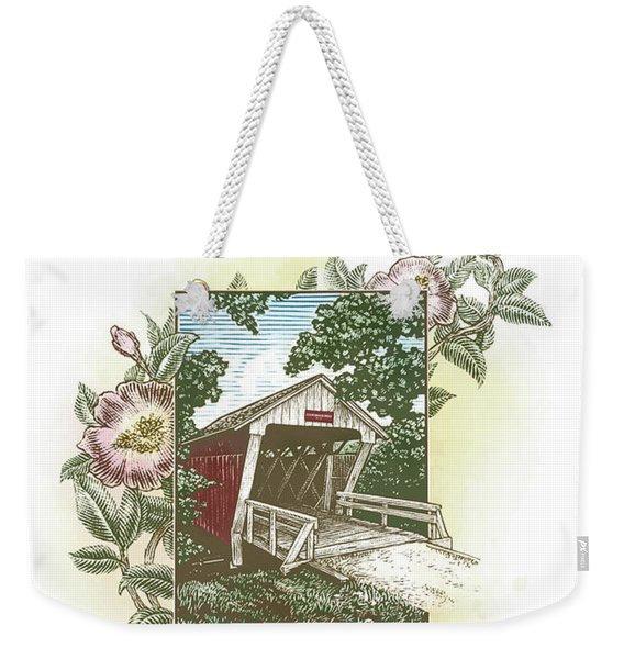 Weekender Tote Bag featuring the drawing Iowa Covered Bridge by Clint Hansen