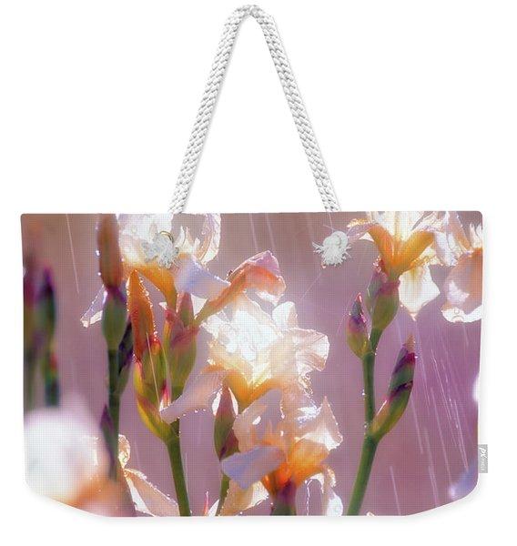 Iris In Rain Weekender Tote Bag