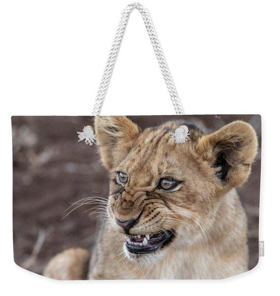 Irritated Lion Cub Weekender Tote Bag