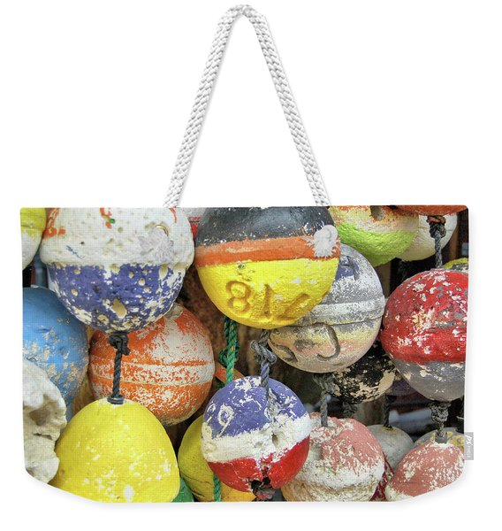 Weekender Tote Bag featuring the photograph Island Buoys by JAMART Photography