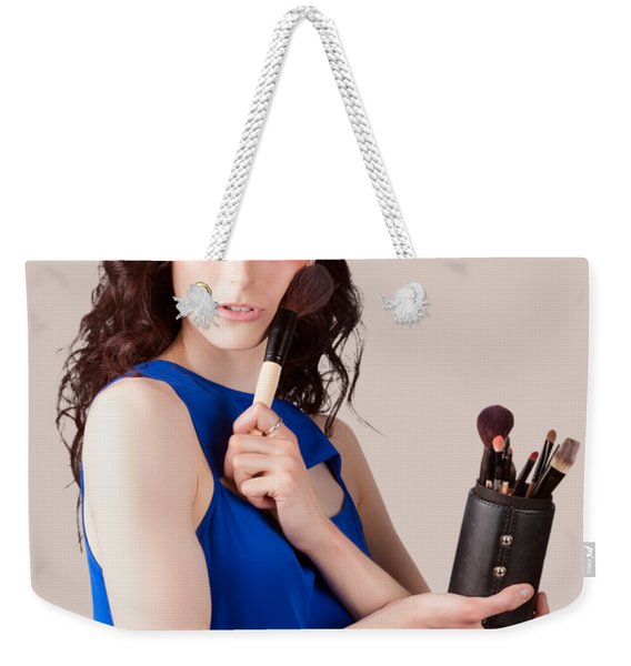 Isolated Makeup Artist Holding Blush Powder Brush Weekender Tote Bag