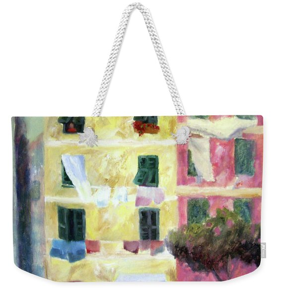 Italian Piazza With Laundry Weekender Tote Bag