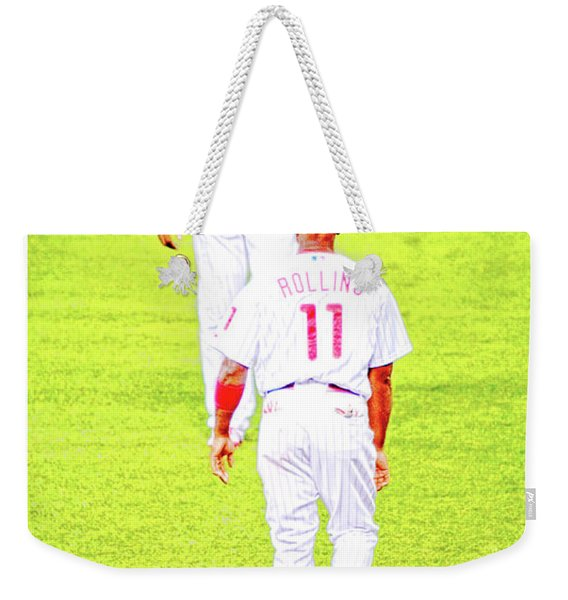 J Roll And The Big Piece, Ryan And Rollins, Phillies Greats Weekender Tote Bag