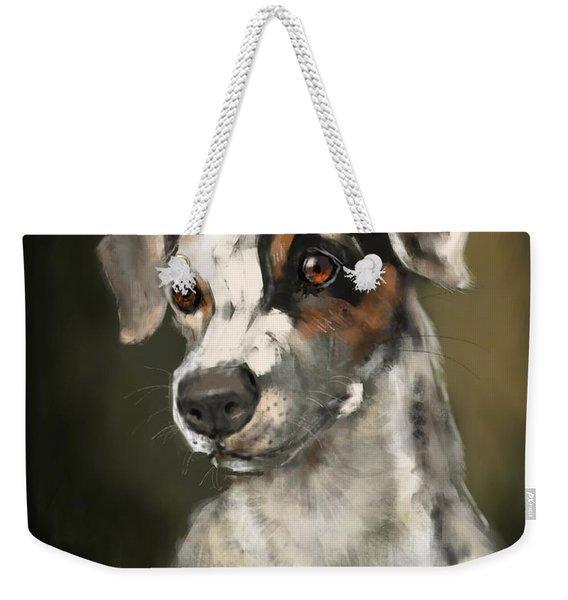 Weekender Tote Bag featuring the painting Jack Russell Terrier by Lora Serra