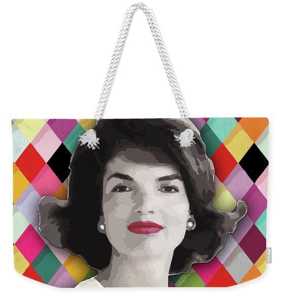 Weekender Tote Bag featuring the painting Jackie Geometric by Carla B