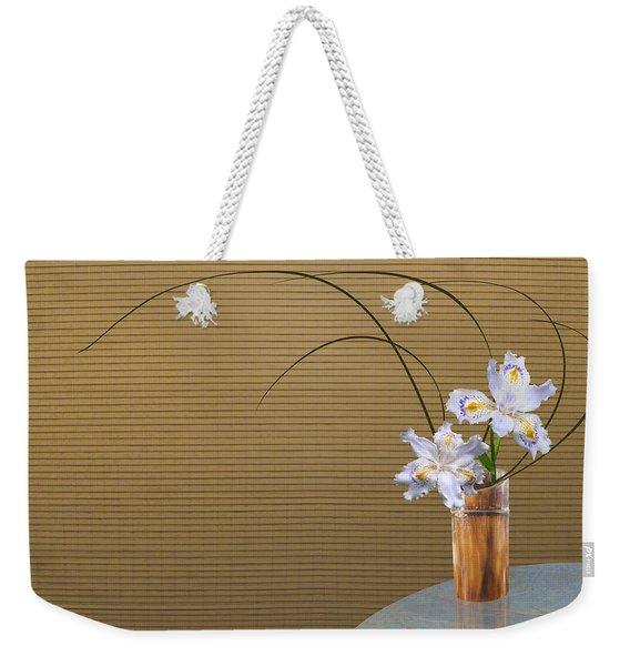 Japonica Iris In Bamboo Vase Weekender Tote Bag