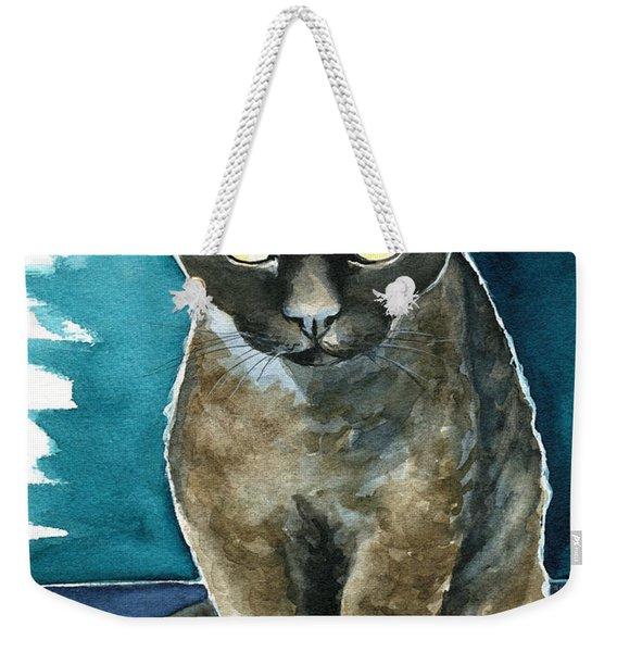 Joey - Devon Rex Cat Painting Weekender Tote Bag