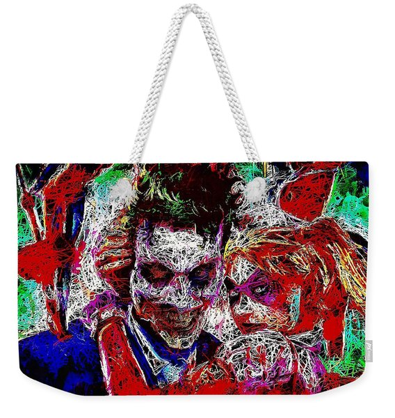 Weekender Tote Bag featuring the mixed media Joker And Harley Quinn 2 by Al Matra