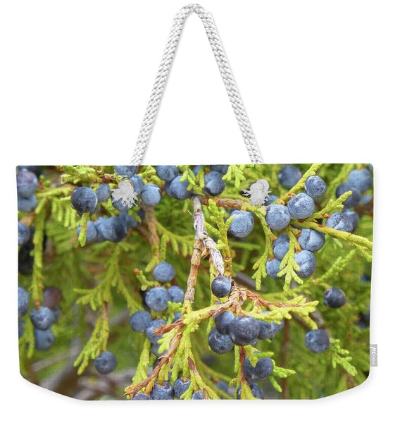 Weekender Tote Bag featuring the photograph Juniper Berries by Cris Fulton