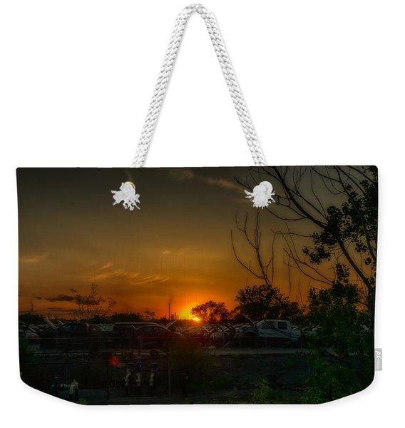 Junk Yard Sunset Weekender Tote Bag