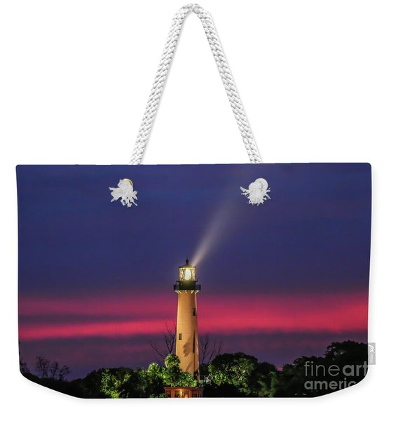 Weekender Tote Bag featuring the photograph Jupiter Light Beam by Tom Claud