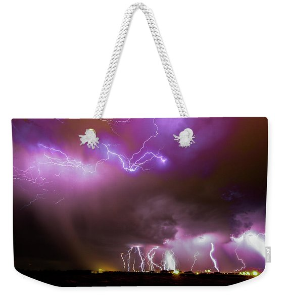 Weekender Tote Bag featuring the photograph Just A Few Bolts 001 by NebraskaSC