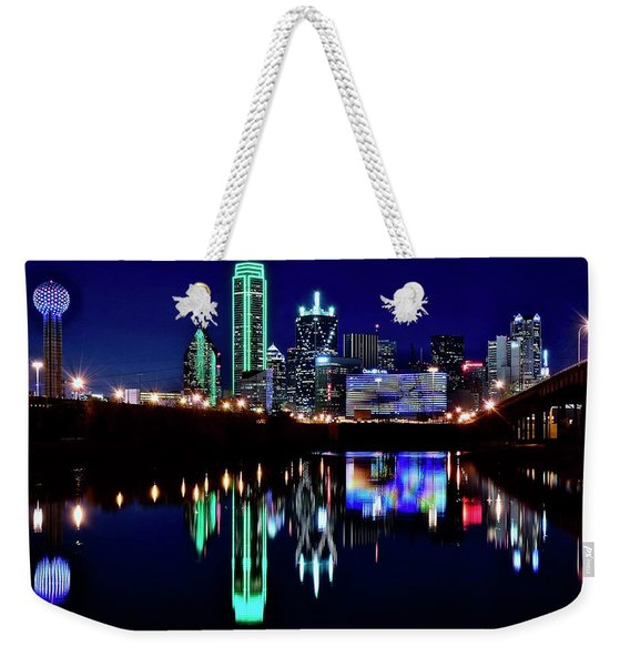 Nightscape Pano Of Dallas Weekender Tote Bag