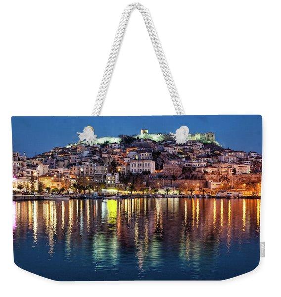 Kavala Town At Night Weekender Tote Bag