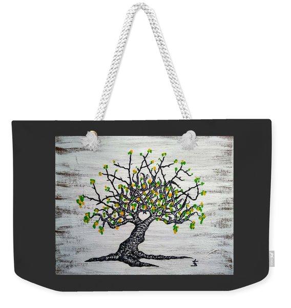 Weekender Tote Bag featuring the drawing Kayaker Love Tree Art by Aaron Bombalicki