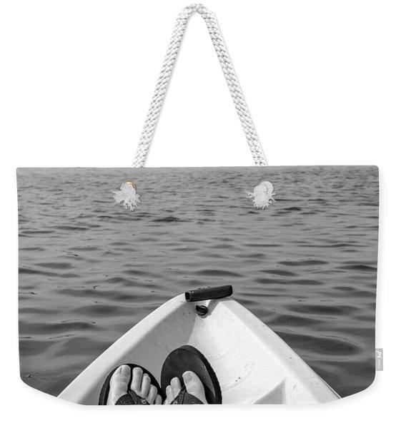 Kayaking In Black And White Weekender Tote Bag