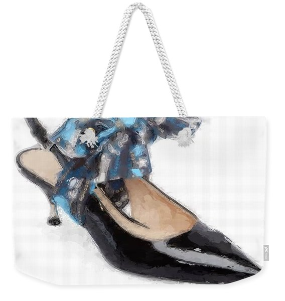 Kitten Heel Leather Bow Weekender Tote Bag
