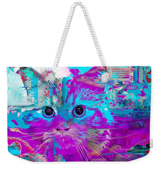 Weekender Tote Bag featuring the digital art Kitty Collage Blue by Don Northup