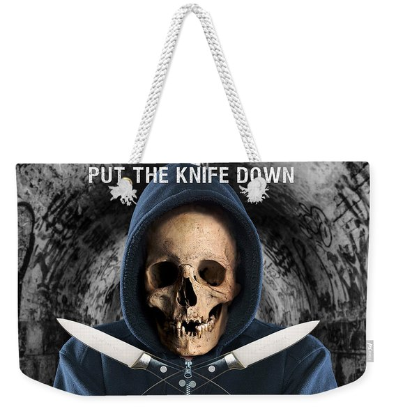 Weekender Tote Bag featuring the digital art Knife Crime Part 2 - The Next Victim by ISAW Company