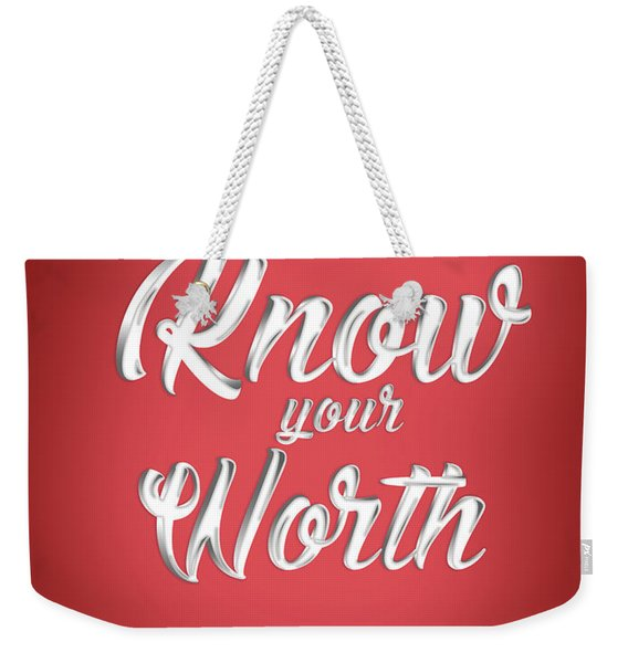 Know Your Worth - Motivational Quote - Quote Typography - Red And White - Quote Print Weekender Tote Bag