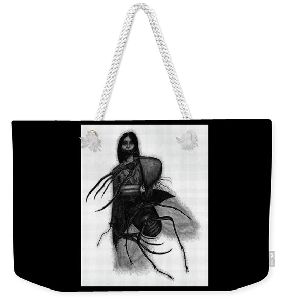 Weekender Tote Bag featuring the drawing Kuchisake-onna The Slit Mouthed Woman Ghost - Artwork by Ryan Nieves