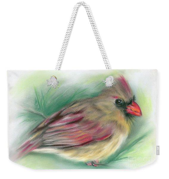 Lady Cardinal In The Pine Weekender Tote Bag