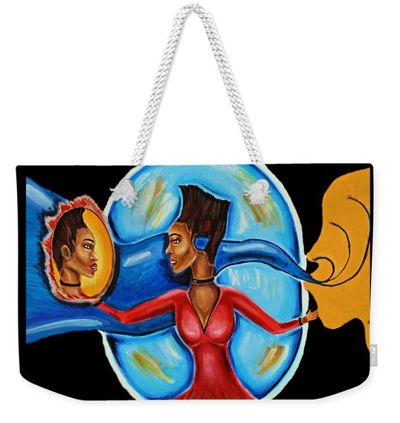 African Goddess Lady In Red Afrocentric Art Mother Earth Black Woman Art Weekender Tote Bag