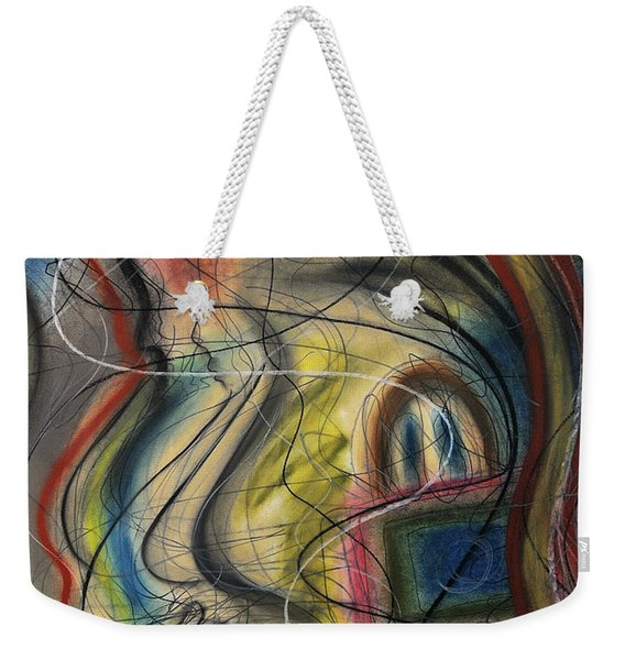 Weekender Tote Bag featuring the pastel Lady With Purse by Mark Jordan