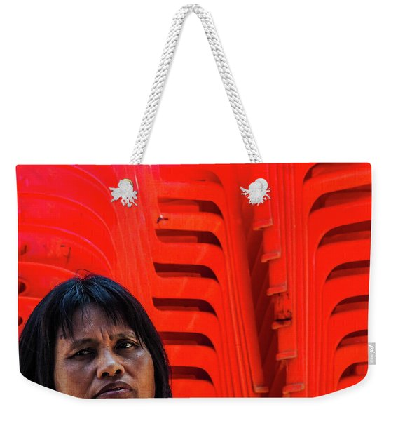 Lady With Red Chairs Weekender Tote Bag