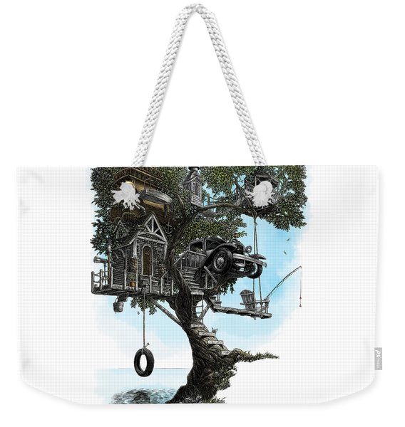 Weekender Tote Bag featuring the drawing Lake Front Dream House by Clint Hansen