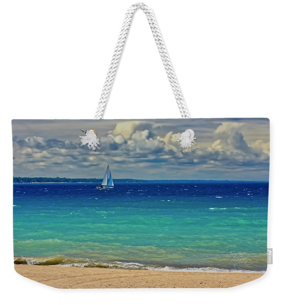 Lake Huron Sailboat Weekender Tote Bag
