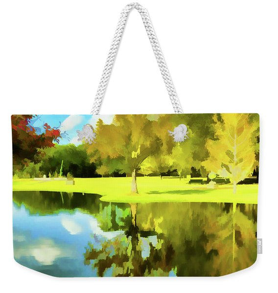 Lake Reflection - Faux Painted Weekender Tote Bag
