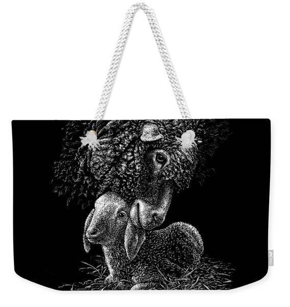 Weekender Tote Bag featuring the drawing Lamb by Clint Hansen