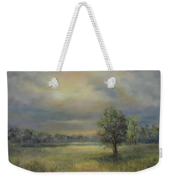 Landscape Of A Meadow With Sun And Trees Weekender Tote Bag