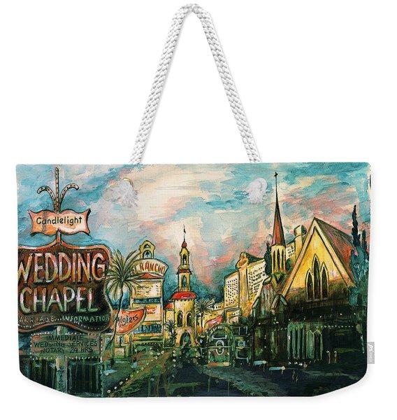 Las Vegas Strip 2000 - Watercolor Painting Weekender Tote Bag
