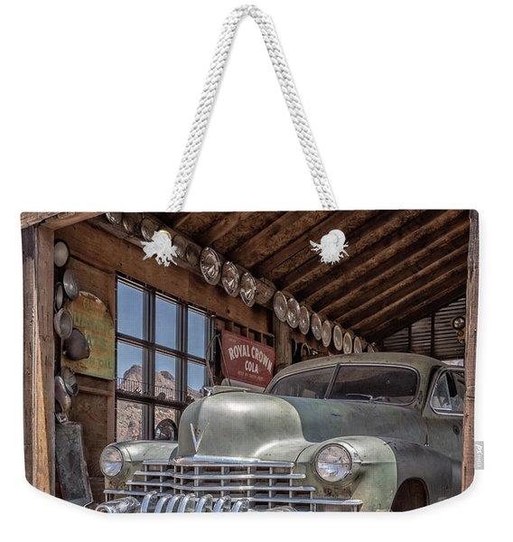 Last Chance Gas Vintage Car Abandoned Gas Station Weekender Tote Bag