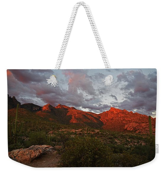 Last Light On Catalina Mountains Weekender Tote Bag