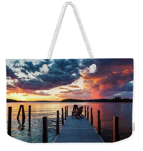 Weekender Tote Bag featuring the photograph Late Summer Storm. by Jeff Sinon