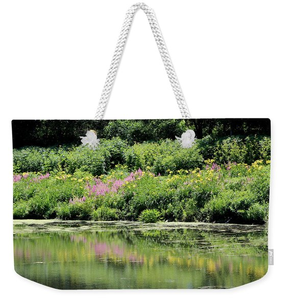 Lavender And Gold Reflections At Chicago Botanical Gardens Weekender Tote Bag