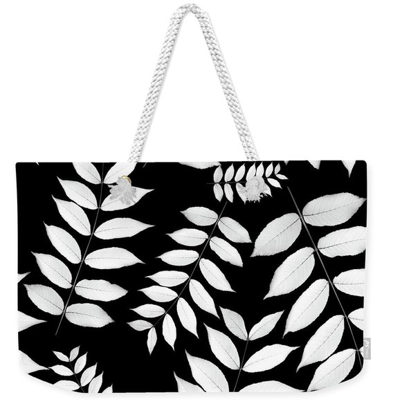Leaf Pattern Black And White Weekender Tote Bag