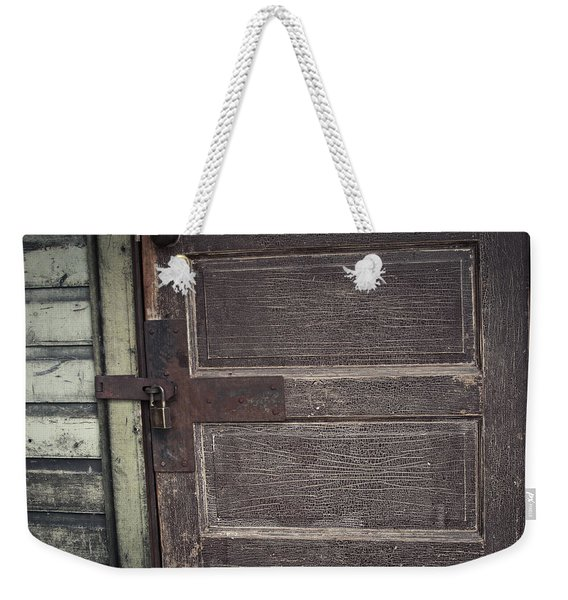 Leather Door Weekender Tote Bag
