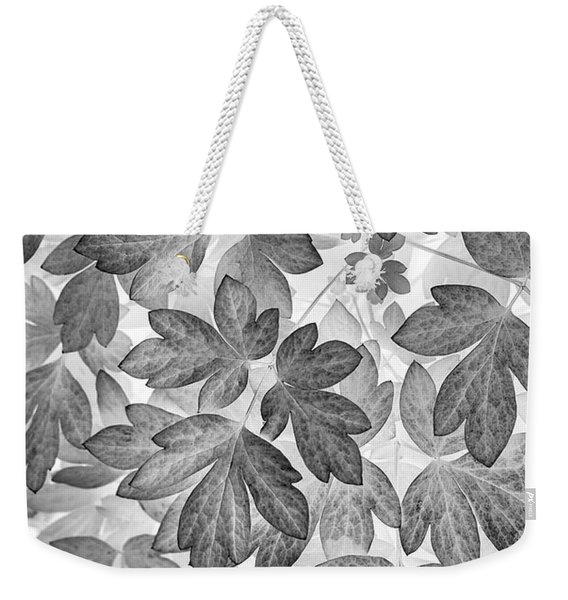 Leaves Black And White Plant Pattern Weekender Tote Bag