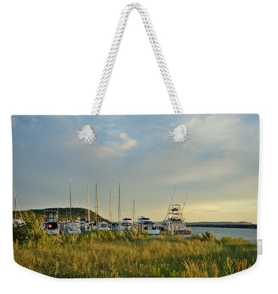 Leland Harbor At Sunset Weekender Tote Bag