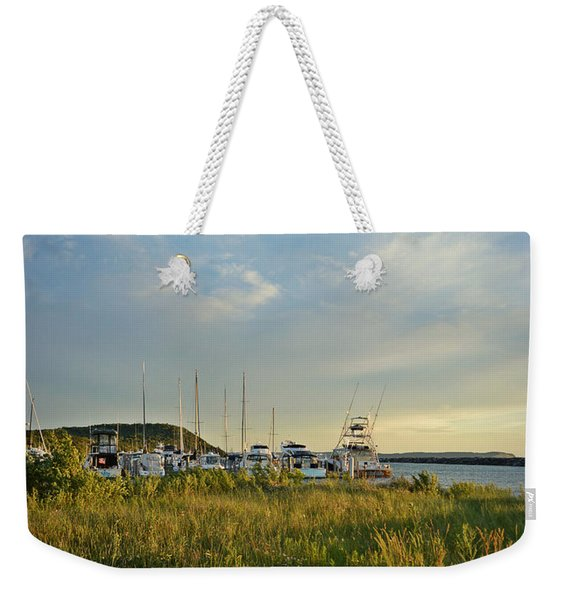 Leland Harbor At Sunset Weekender Tote Bag